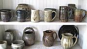 Thrown Ceramics Prints - Stoneware Cups Print by Stephen Hawks