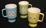 Retro Ceramics - Stoneware Mugs by Amy Mangis