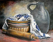 Crocks Metal Prints - Stoneware Still Life Metal Print by Eileen Patten Oliver