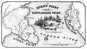 1779 Photo Posters - Stony Point Map, 1779 Poster by Granger
