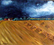 Haybales Painting Prints - Stooks At Winkleigh Print by Sandy Wager