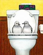 Humorous Drawings Posters - Stool Pigeon Poster by Don McMahon
