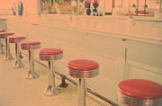 Showcase-interior Prints - Stools At Bar Counter Print by Carol Whaley Addassi