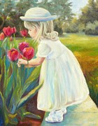 Little Girl Prints - Stop and Smell the Flowers Print by Chris Brandley