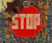 Stop Mixed Media Framed Prints - Stop C.T.B.S Framed Print by Angelo Sena