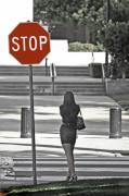 Crosswalk Framed Prints - Stop... Look Both Ways Framed Print by Mark Hendrickson