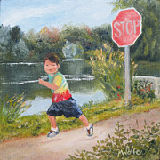 Stop Sign Painting Framed Prints - Stop Framed Print by Margo Wolfe