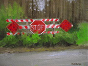 Stop Sign Painting Framed Prints - Stop Framed Print by Robert Rohrich