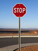 Stop Sign In The Desert Print by Paul Edmondson