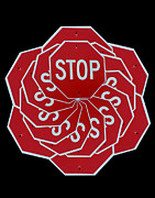 Stop Sign Digital Art Posters - Stop Sign Kalidescope Poster by Denise Keegan Frawley