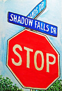 Stop Sign Painting Framed Prints - Stop Sign Sketchbook Project Down My Street Framed Print by Irina Sztukowski