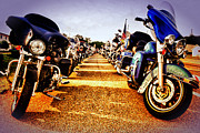 Honda Motorcycles Prints - Stopping By Harley Davidson Print by Kelly Reber