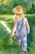 Overalls Painting Posters - Stopping in Wonder Poster by Mary Dunham Walters