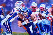 Patriots Painting Originals - Stopping Tebow by Donovan Furin