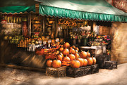 Autumn Scenes Framed Prints - Store - Hoboken NJ - The Fruit Market Framed Print by Mike Savad