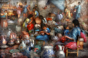 Colorfull Prints - Store - The busy marketpalce Print by Mike Savad