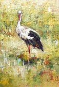 Stork Painting Framed Prints - Stork Framed Print by Alexander Ochkal