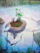 Stork Paintings - Storks In Pond by Pete  TSouvas