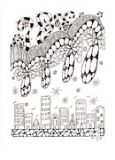 Storm Clouds Drawings Posters - Storm Above the City Poster by Paula Dickerhoff