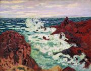 Ocean Scenes Framed Prints - Storm at Agay Framed Print by Jean Baptiste Armand Guillaumin