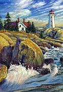 Lighthouse Painting Originals - Storm Blowing In by John Lautermilch