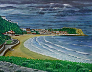 Ronald Haber Framed Prints - Storm Brewing - Scarborough Bay Framed Print by Ronald Haber