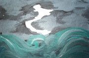 Sea Moon Full Moon Painting Originals - Storm by Caroline Reyes