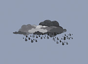 Cloudscape Digital Art Posters - Storm Clouds And Rain Poster by Jutta Kuss