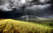 Storm Digital Art Metal Prints - Storm clouds and rainbow over Chaplin Lake Marshes Metal Print by Mark Duffy