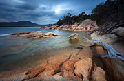 Freycinet Posters - Storm Clouds And Tranquil Bay Poster by Steve Daggar Photography