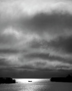 Cloudscape Digital Art - Storm clouds approaching boat on Northern Saskatchewan lake  by Mark Duffy
