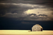 Farming Digital Art - Storm clouds behind abandoned Saskatchewan barn by Mark Duffy
