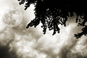 Cloudscape Digital Art - Storm Clouds Over A Super Moon Night 2 by Andee Photography