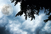 Cloudscape Digital Art - Storm Clouds Over A Super Moon Night by Andee Photography