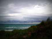 Grey Clouds Posters - Storm Clouds Over Lake Michigan Poster by Michelle Calkins