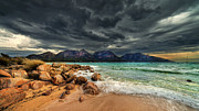 Freycinet Posters - Storm Clouds Over Mountains And Beach Poster by Steve Daggar Photography