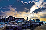 Storm Digital Art Metal Prints - Storm Clouds over Philadelphia Metal Print by Bill Cannon