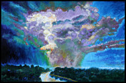 Storm Clouds Painting Originals - Storm Clouds over River by John Lautermilch