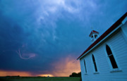 Country Church Prints - Storm Clouds over Saskatchewan country church Print by Mark Duffy