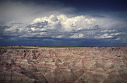 Oglala Lakota Art Prints - Storm Clouds over the Badlands National Park Print by Randall Nyhof