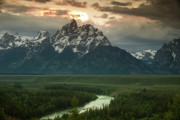 River. Clouds Posters - Storm Clouds over the Tetons Poster by Andrew Soundarajan