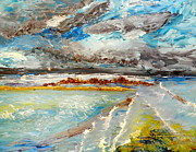 Grey Clouds Painting Posters - Storm Coming at Austinmer Beach Poster by Pamela  Meredith
