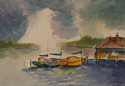 Yellow Sailboats Originals - Storm Coming by Elise Nicely