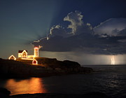Nubble Lighthouse Originals - Storm Energizes the Lightning and the Lighthouse by Richard Frost