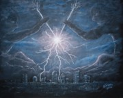 Night Game Paintings - Storm Games by Marlene Kinser Bell