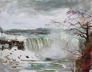 Winter Storm Painting Metal Prints - Storm in Niagara Falls  Metal Print by Ylli Haruni