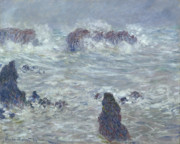 Wavy Metal Prints - Storm off the Coast of Belle Ile Metal Print by Claude Monet