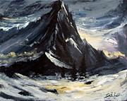 Abstracted Landscapes Prints - Storm On The Mountain Print by Lidija Ivanek