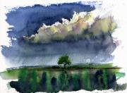 John Benson Paintings - Storm on the Plain by John D Benson