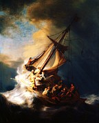 Storm Prints Painting Posters - Storm On The Sea Of Galilee Poster by Pg Reproductions